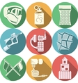 Flat colored icons collection for paintball vector image