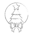 merry christmas pine tree with bow vector image
