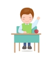 School boy sitting at desk isolated vector image