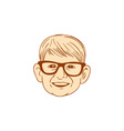 Head Caucasian Boy Smiling Big Glasses Drawing vector image vector image