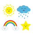 Cute cartoon kawaii sun cloud with rain star vector image