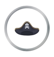 Pirate hat icon in cartoon style isolated on white vector image