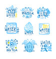 natural water set for label design colorful hand vector image