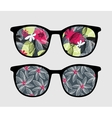 Retro sunglasses with dark flowers reflection vector image vector image