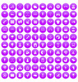 100 childrens playground icons set purple vector image vector image