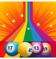 Bingo balls coming out from a rainbow vector image vector image