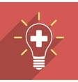 Creative Medicine Bulb Flat Square Icon with Long vector image