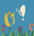 butterfly choose tulip flower vector image