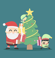 Christmas poster design Christmas card with Santa vector image