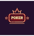 Crowned Poker Neon Sign vector image
