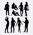 Male and female people activity silhouettes vector image