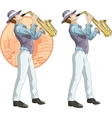Retro musician cartoon character vector image