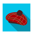 scottish traditional cap icon in flat style vector image