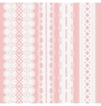 Set of seamless white lace ribbons on a pink vector image