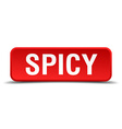 Spicy red 3d square button isolated on white vector image