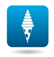 Tasty ice cream cone icon simple style vector image
