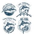 tuna logos sport fishing club logos vector image