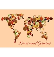 World map made up of nuts seed and grains vector image