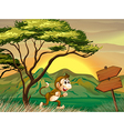 A monkey running with a wooden arrow board vector image vector image
