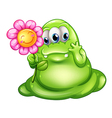 A caring greenslime monster vector image vector image
