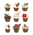 Set of christmass muffins vector image vector image