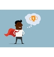 Black businessman hero dreaming about victory vector image