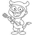 outlined devil kid vector image