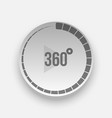 realistic 360 degrees icon with arrow and shadow vector image
