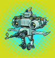ridiculous funny battle military robot in retro vector image