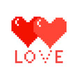two pixel hearts with love on a white background vector image