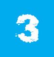 number 3 cloud font symbol white alphabet sign vector image