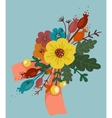 Bright Flowers Bouquet with Ribbon vector image vector image