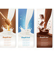 Set of milk honey and chocolate banners vector image