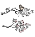 Artistic sketch of bird on a branch vector image