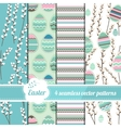 Collection of seamless blue patterns with stylized vector image