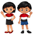boy and girl waving hands vector image