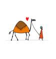 camel sketch for your design vector image