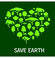 Eco green heart symbol with trees and plants vector image