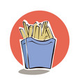 french fries in red paper box cartoon vector image