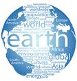 Global earth world word cloud tags vector image