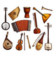 ethnic musical instruments sketches set vector image vector image