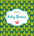 Baby shower invitation card green flash color vector image