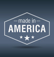 made in America hexagonal white vintage label vector image