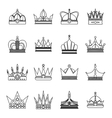 Linear crown icon set vector image