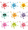 Set of colorful blot smileys vector image