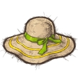 Straw beach hat vector image
