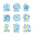 water or aqua set for logo design organic vector image