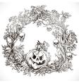 Festive decorative Halloween wreath vector image vector image
