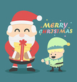 Vintage Christmas card Santa claus and Christmas vector image