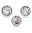 Cartoon volleyball balls on white vector image vector image